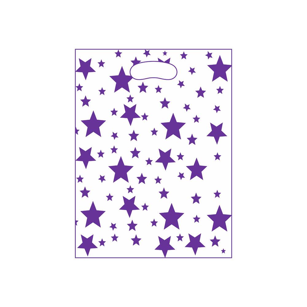 Sacola plástica Boca de Palhaço Estampada - Estrelada Bco/Lilás - 40x50cm - Pacote 40 unid (1 KG)
