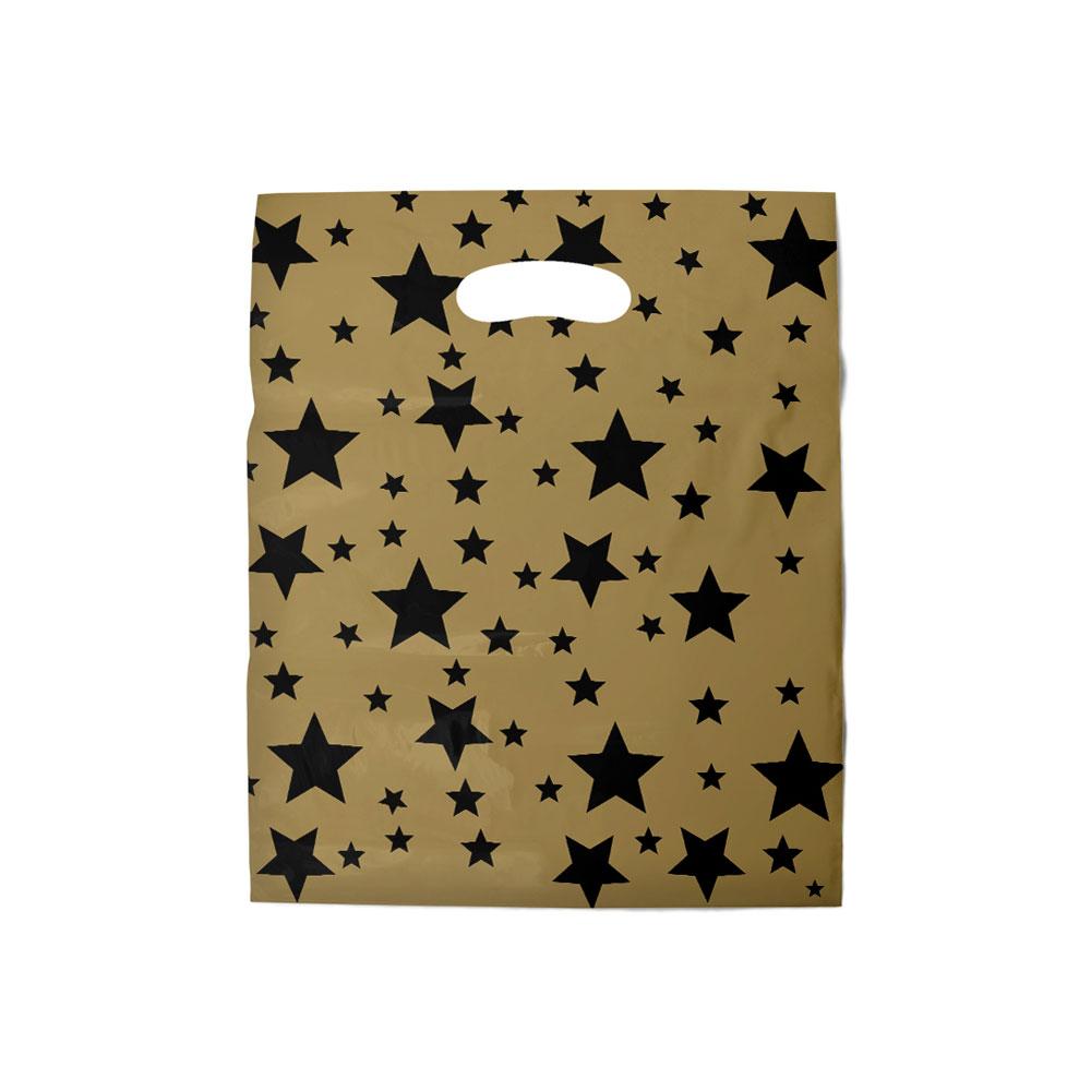 Sacola plástica Boca de Palhaço Estampada - Estrelada Dourado/Prt - 30x40cm - Pacote 54 unid (1 KG)