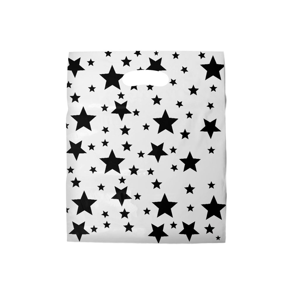 Sacola plástica Boca de Palhaço Estampada - Estrelada Bco/Preto - 40x50cm - Pacote 40 unid (1 KG)
