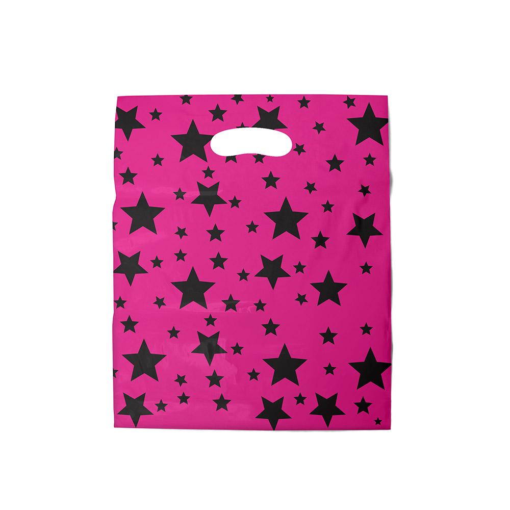 Sacola plástica Boca de Palhaço Estampada - Estrelada Rosa/Prt - 20x30cm - Pacote 108 unid (1 KG)