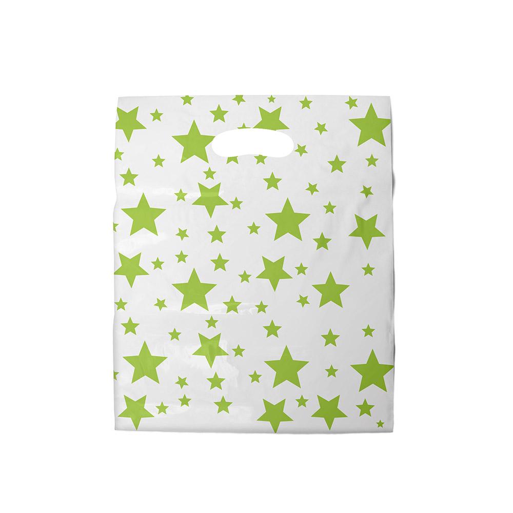 Sacola plástica Boca de Palhaço Estampada - Estrelada Bco/Verde - 20x30cm - Pacote 108 unid (1 KG)