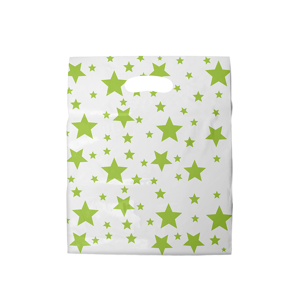 Sacola plástica Boca de Palhaço Estampada - Estrelada Bco/Verde - 40x50cm - Pacote 40 unid (1 KG)