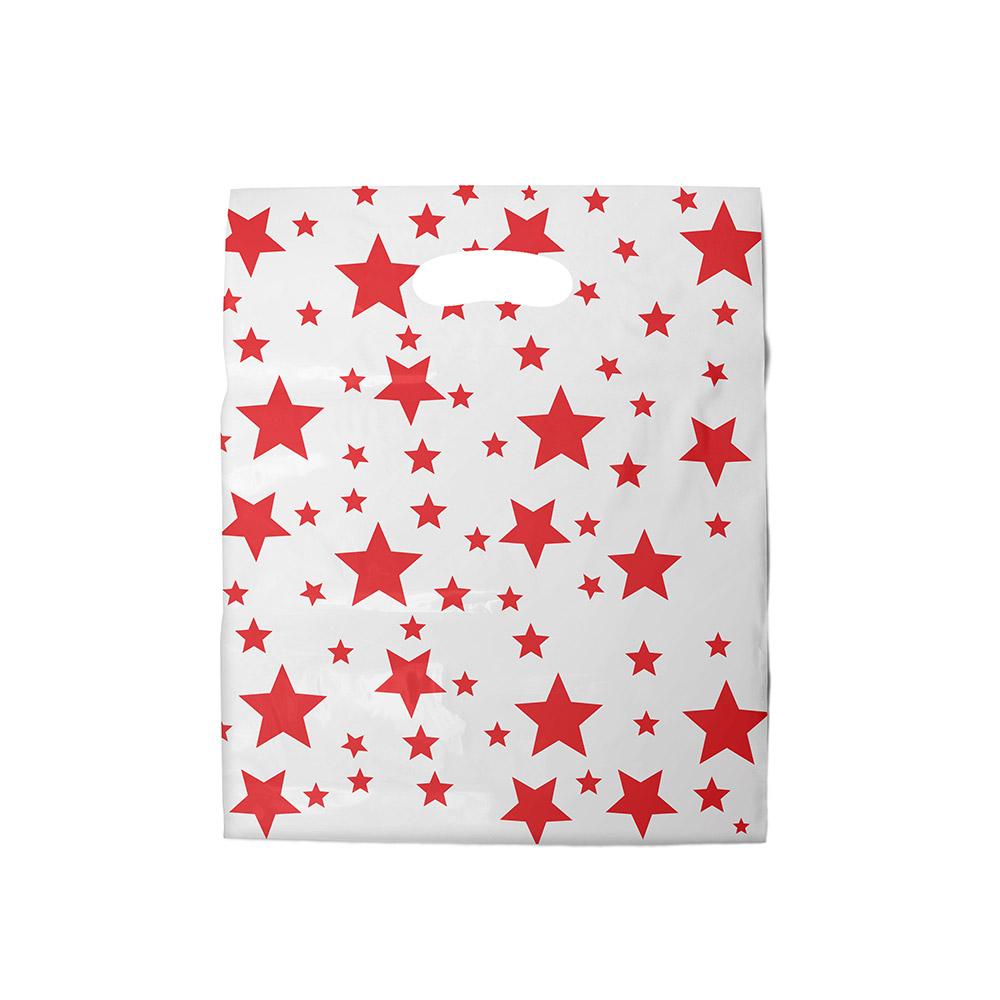 Sacola plástica Boca de Palhaço Estampada - Estrelada Bco/Vermelho - 40x50cm - Pacote 40 unid (1 KG)