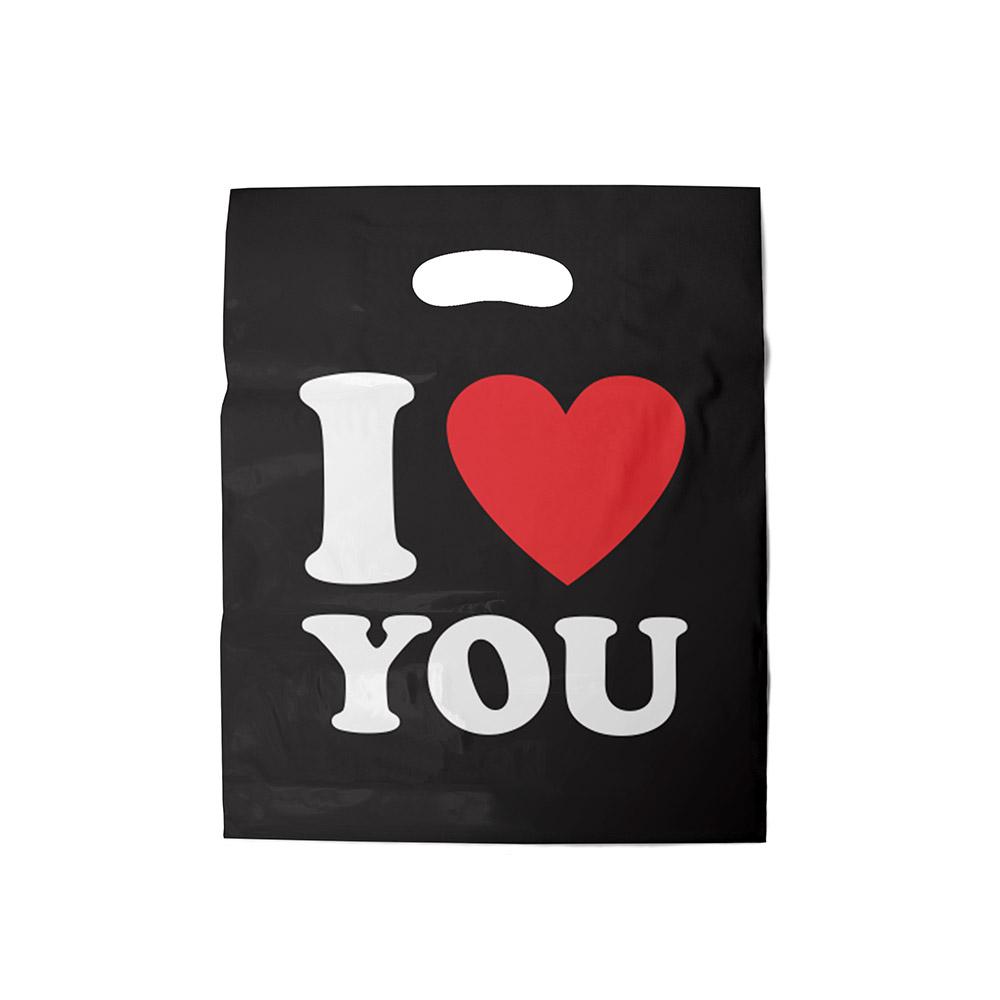 Sacola plástica Boca de Palhaço Estampada - i love you - 40x50cm - Pacote 40 unid (1 KG)