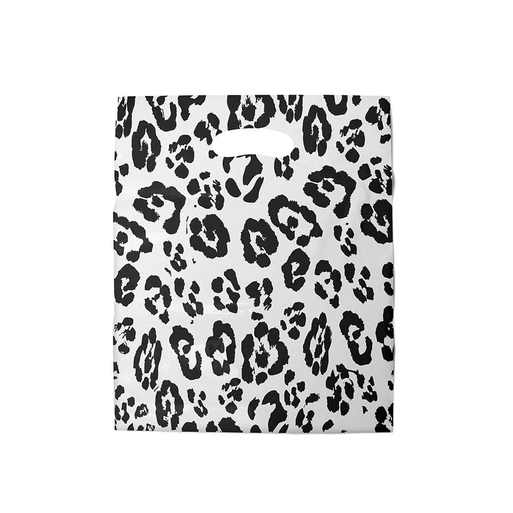 Sacola plástica Boca de Palhaço Estampada - Onça Bco/Preto - 20x30cm - Pacote 100 unid (1 KG)