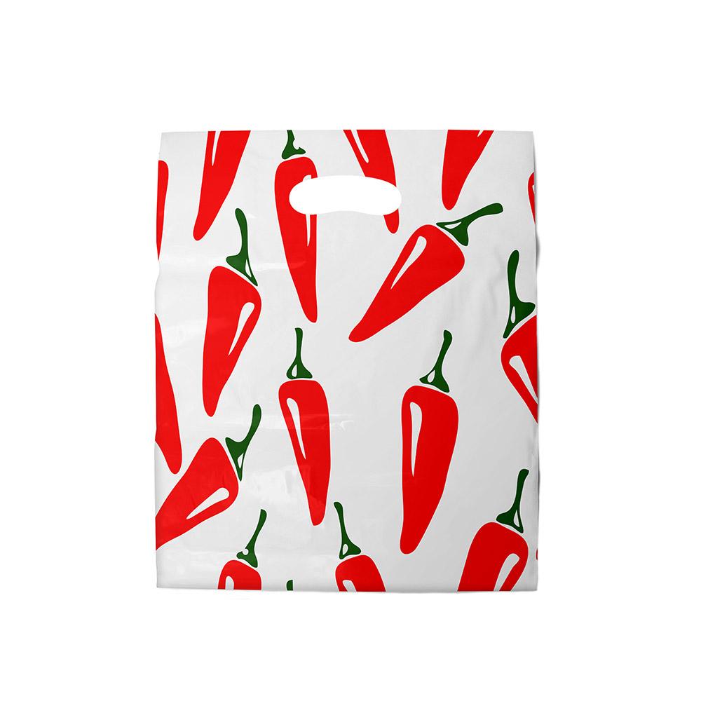 Sacola plástica Boca de Palhaço Estampada - Pimenta - 40x40cm - Pacote 40 unid (1 KG)