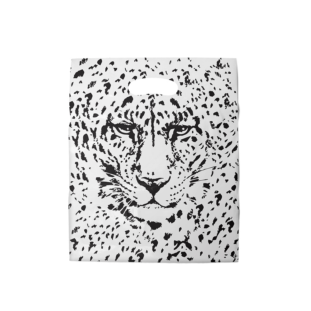 Sacola plástica Boca de Palhaço Estampada - Tigre Branco/Prt - 30x40cm - Pacote 50 unid (1 KG)