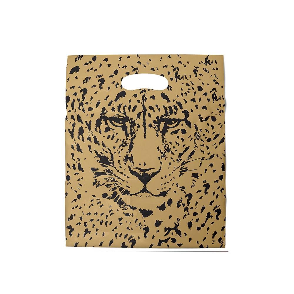 Sacola plástica Boca de Palhaço Estampada - Tigre Dourado/Prt - 20x30cm - Pacote 100 unid (1 KG)