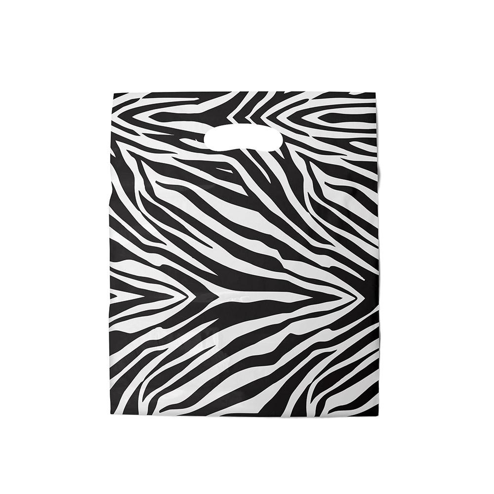Sacola plástica Boca de Palhaço Estampada - Zebrada Bco/Preto- 20x30cm - Pacote 100 unid (1 KG)