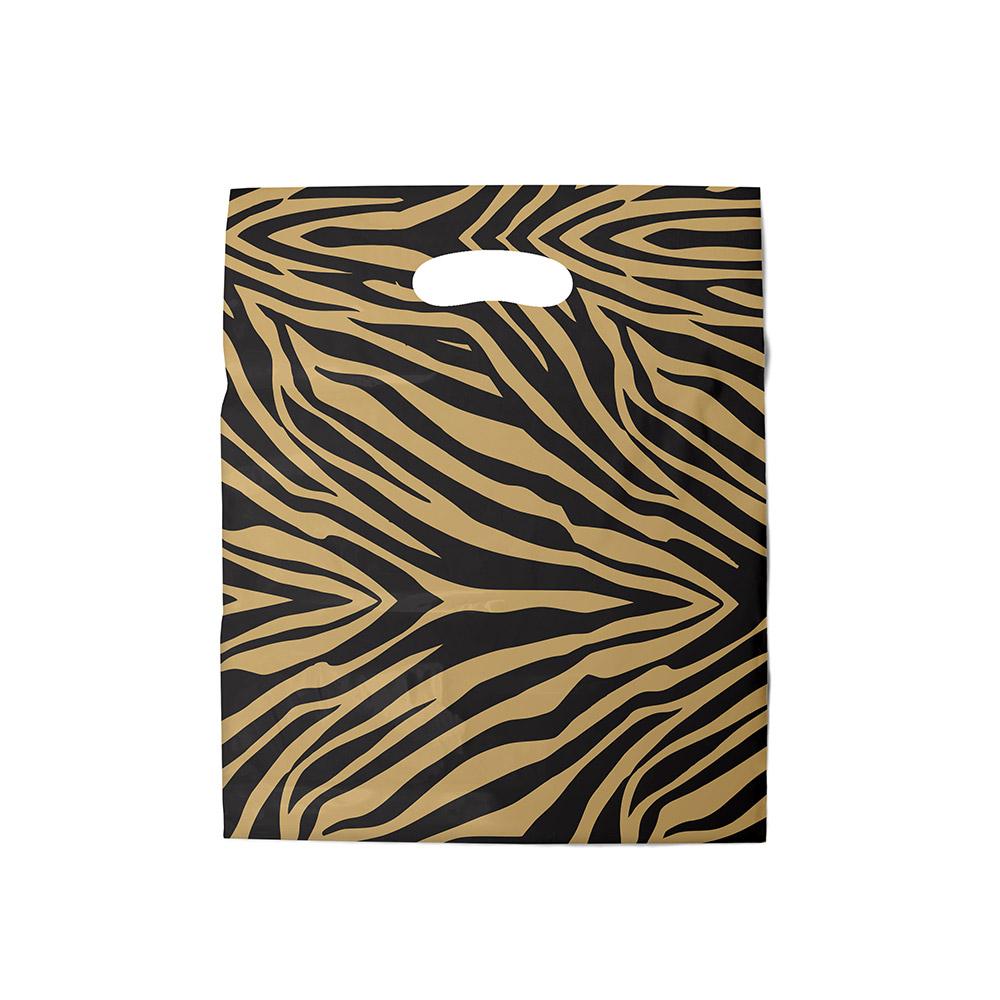 Sacola plástica Boca de Palhaço Estampada - Zebrada Dourado/Prt - 40x40cm - Pacote 40 unid (1 KG)