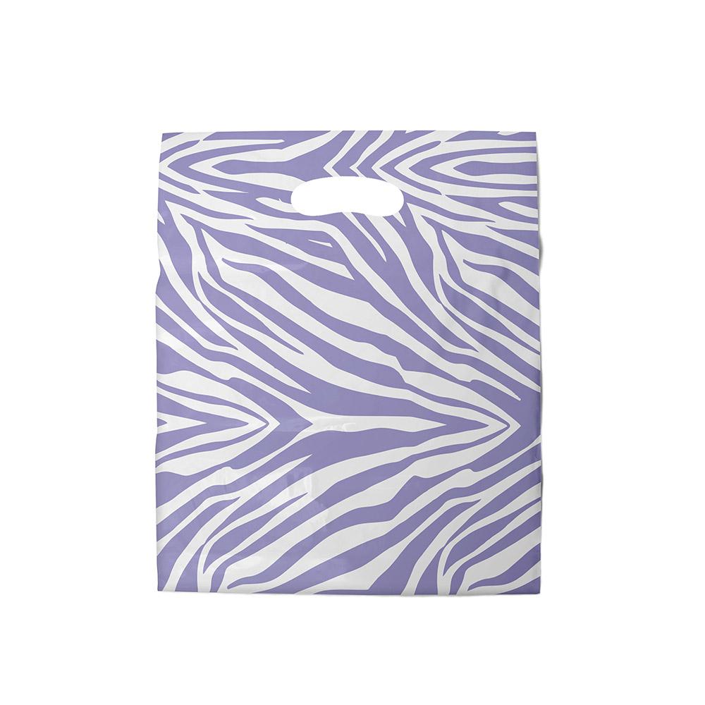 Sacola plástica Boca de Palhaço Estampada - Zebrada Bco/Lilás - 30x40cm - Pacote 50 unid (1 KG)