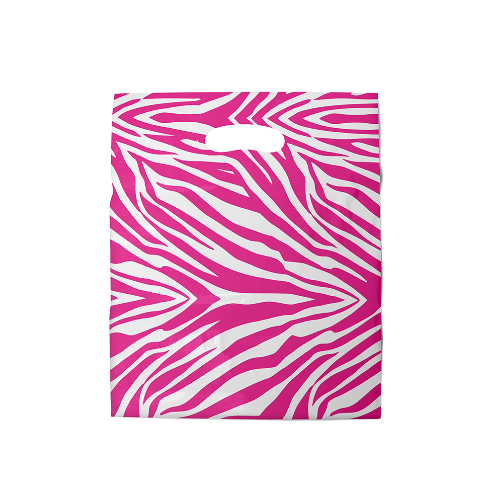 Sacola plástica Boca de Palhaço Estampada - Zebrada Bco/Pink - 20x30cm - Pacote 100 unid (1 KG)