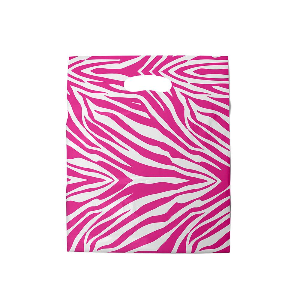 Sacola plástica Boca de Palhaço Estampada - Zebrada Bco/Pink - 40x40cm - Pacote 40 unid (1 KG)