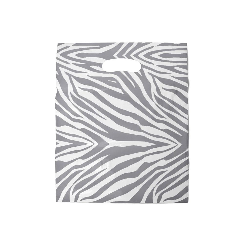 Sacola plástica Boca de Palhaço - Zebrada Transparente Prata - 20x30cm - Pacote 108 unid (1 KG)