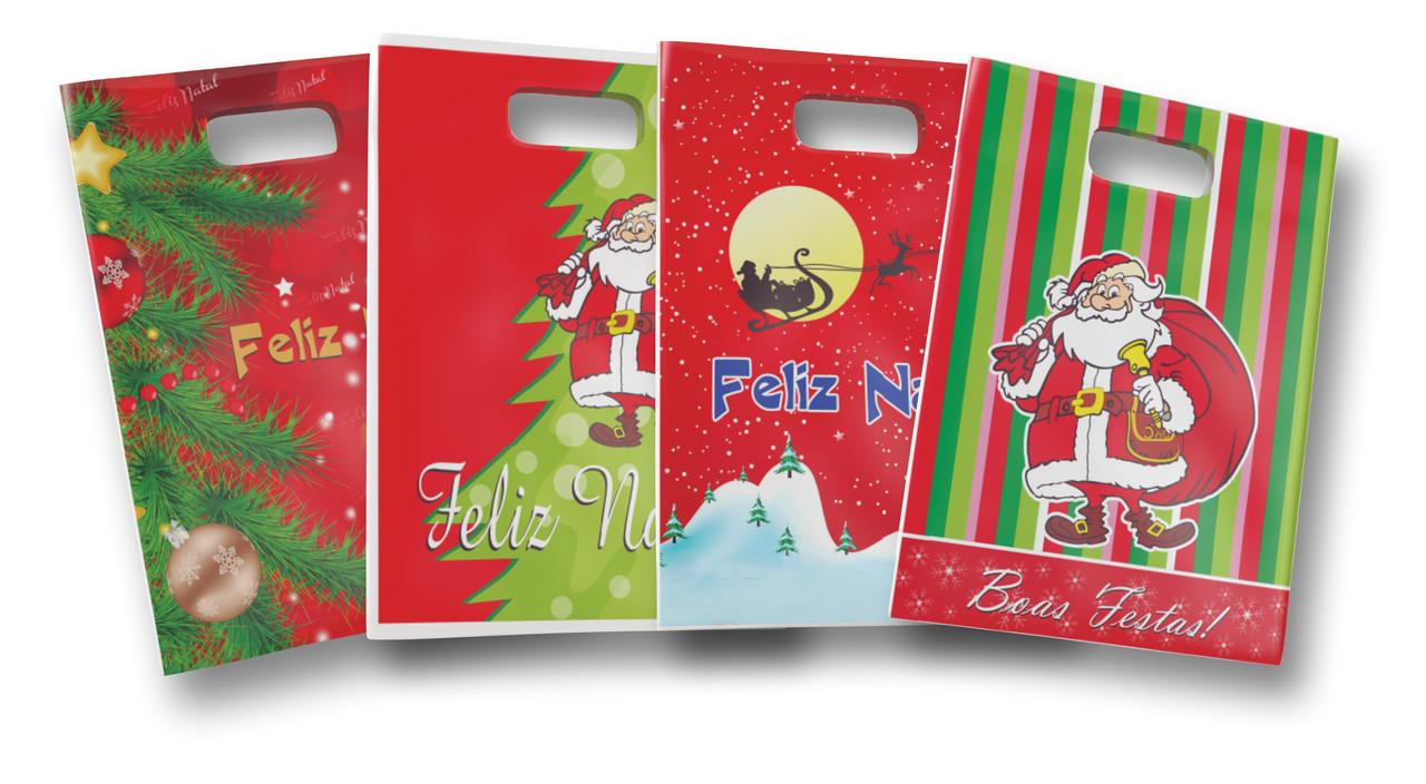 Sacolas Boca De Palhaço Estampada Natal Papai Noel 30x40 C/50 Unidades Fina
