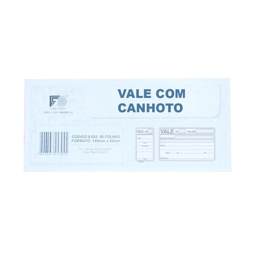 Vale Com Canhoto - 14,5x6,5cm - Com 50 Folhas (20unidades) (Pacote Total 1.000 folhas)
