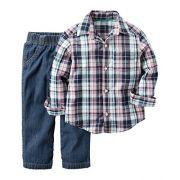 Calça e Camisa Carters Azul Xadrez