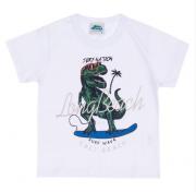 Camiseta Branca Dinossauro Bicho Bagunça