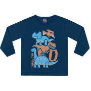 Camiseta Manga Longa Dinos Azul Kiko e Kika