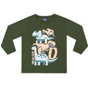 Camiseta Manga Longa Dinos Verde Kiko e Kika