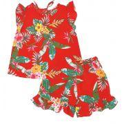 Conjunto Floral Vermelho