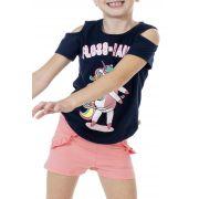 Conjunto Floss Dancing Marinho Menina Infantil