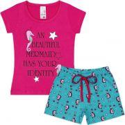 Conjunto Infantil Pink Analê Cavalo Marinho