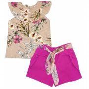 Conjunto Menina Floral Rosa