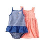 Vestido e Banho de Sol Carters Laranja Neon