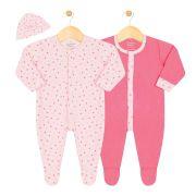 Kit 2 Macacões e Touca Suedine Menina Junkes Baby