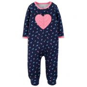 Macacão Pijama Carters Coração Marinho