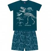 Pijama Dino Azul Kiko e Kika Brilha no Escuro