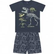 Pijama Dino Chumbo Kiko e Kika Brilha no Escuro