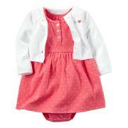Vestido e Casaco Carters Rosa Branco