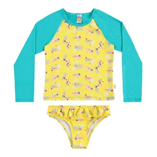 Biquíni Camiseta Infantil Boca Grande  Proteção UV 50 Amarelo
