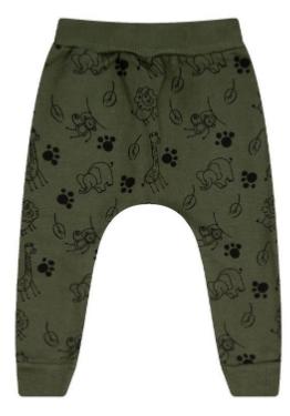 Calça Moletom Estampada Animais Verde Bicho Bagunça