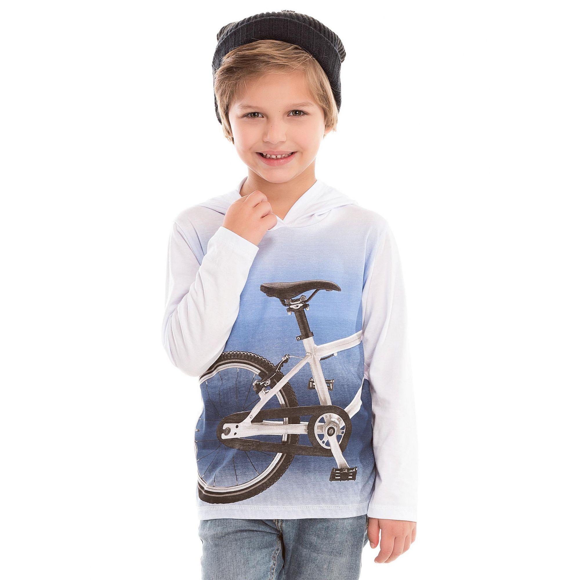 Camiseta Bike com Capuz  Branca Bicho Bagunça