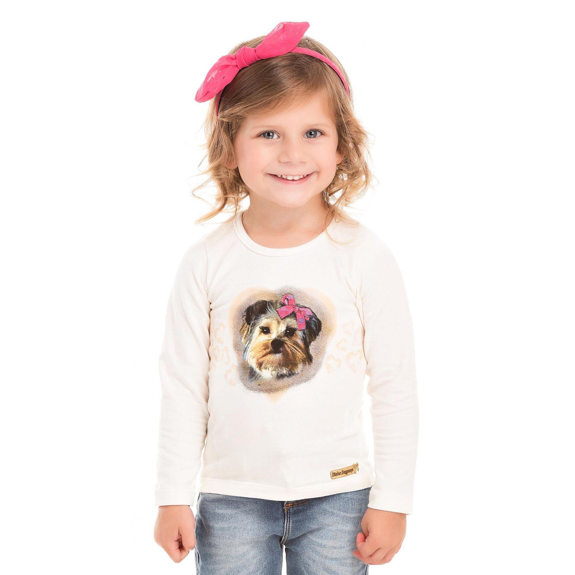 Camiseta Cachorrinho Cru Menina Bicho Bagunça