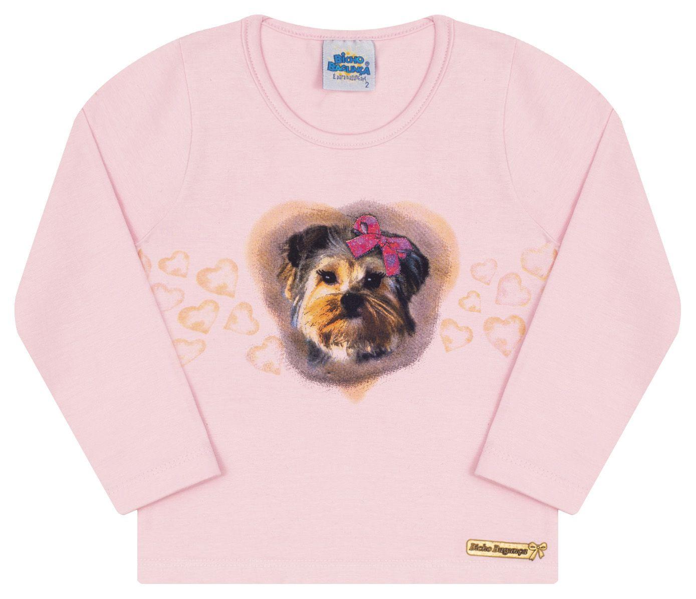 Camiseta Cachorrinho Rosa Menina Bicho Bagunça