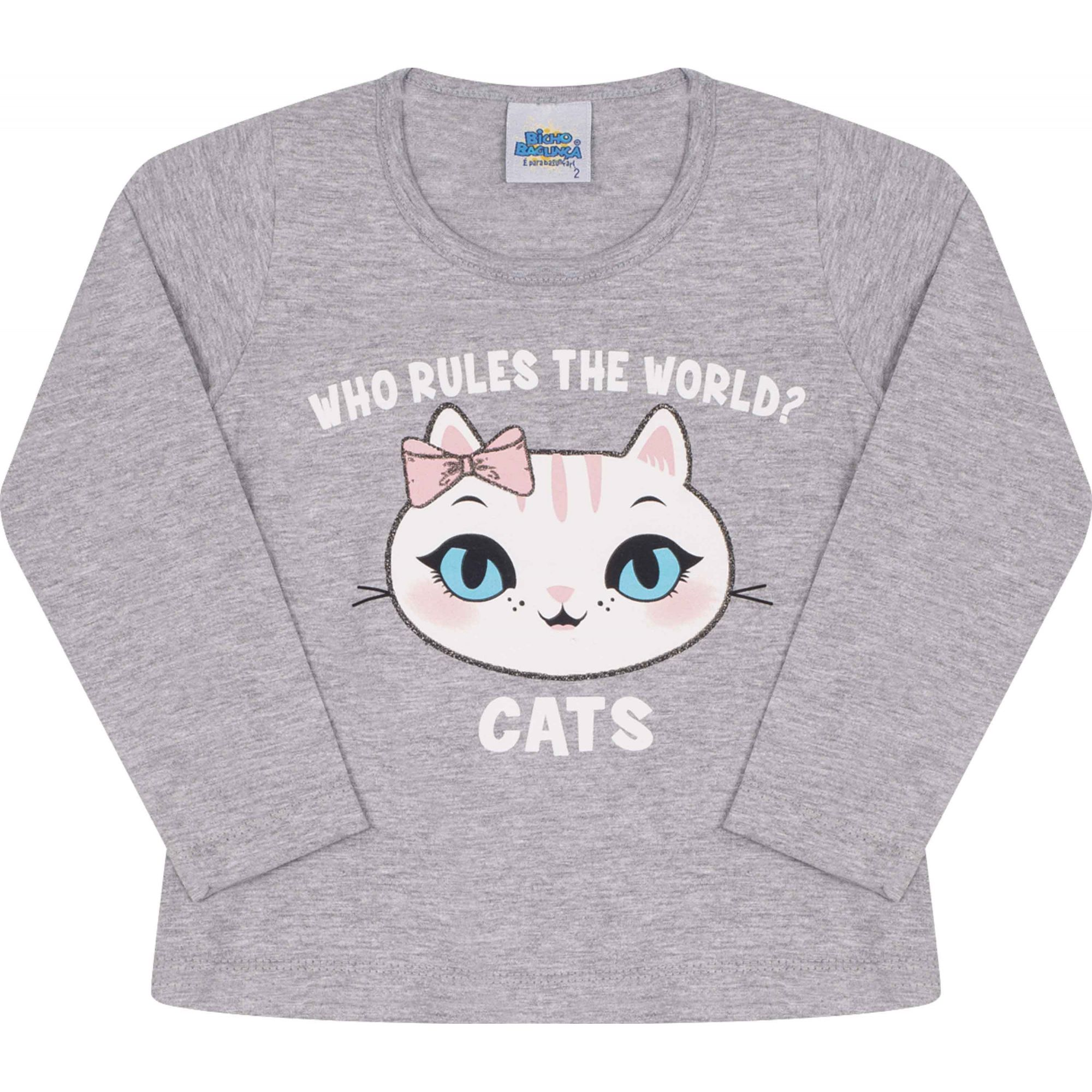 Camiseta Cats Cinza Bicho Bagunça