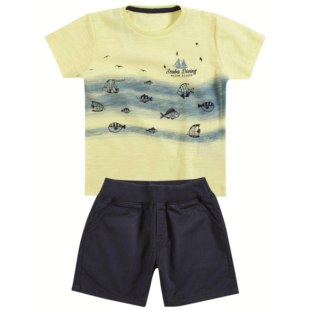 Camiseta e Bermuda Milon Mergulho Amarela