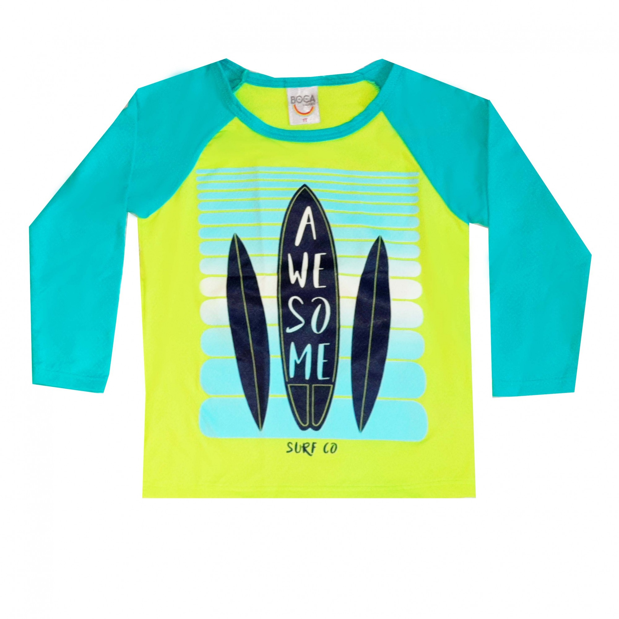 Camiseta Infantil Boca Grande Awesome Proteção UV 50 Verde Neon