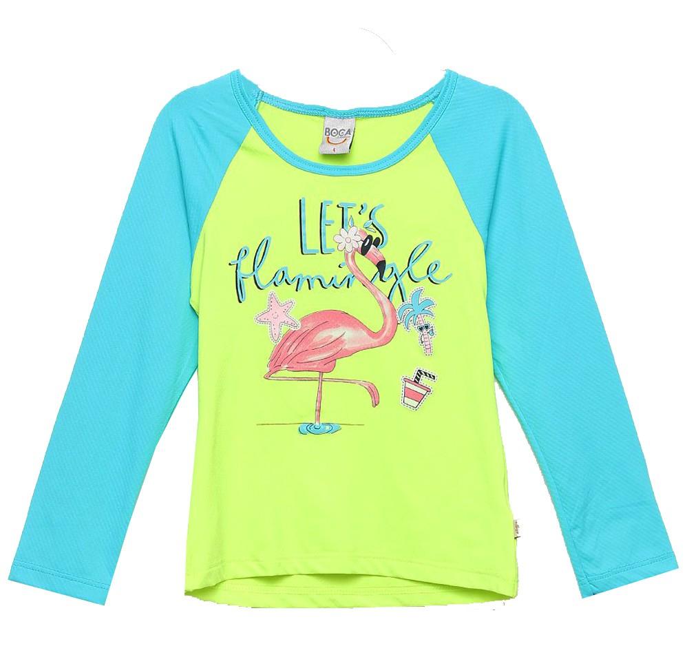 Camiseta Infantil Boca Grande Flamingo Proteção UV 50 Verde Neon