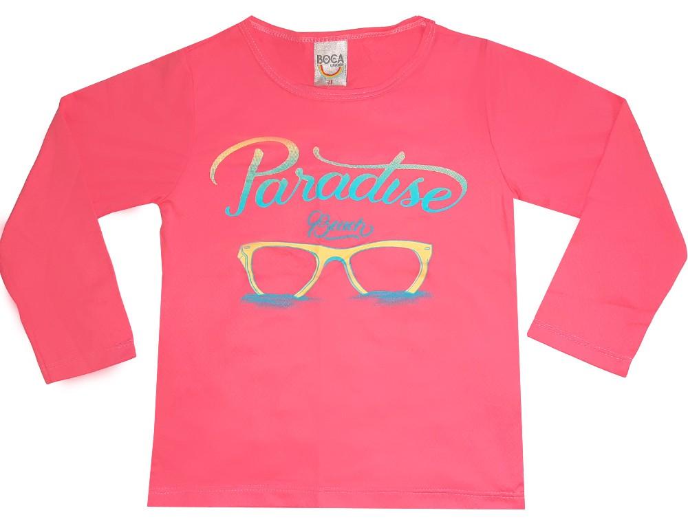 Camiseta Infantil Boca Grande Rosa Proteção UV 50