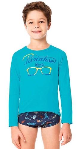Camiseta Infantil Boca Grande Turquesa Proteção UV 50