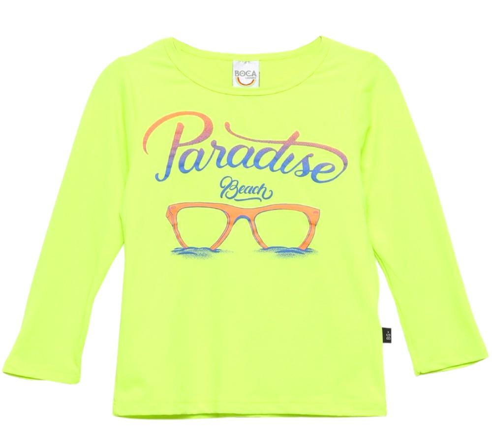 Camiseta Infantil Boca Grande Verde Neon Proteção UV 50