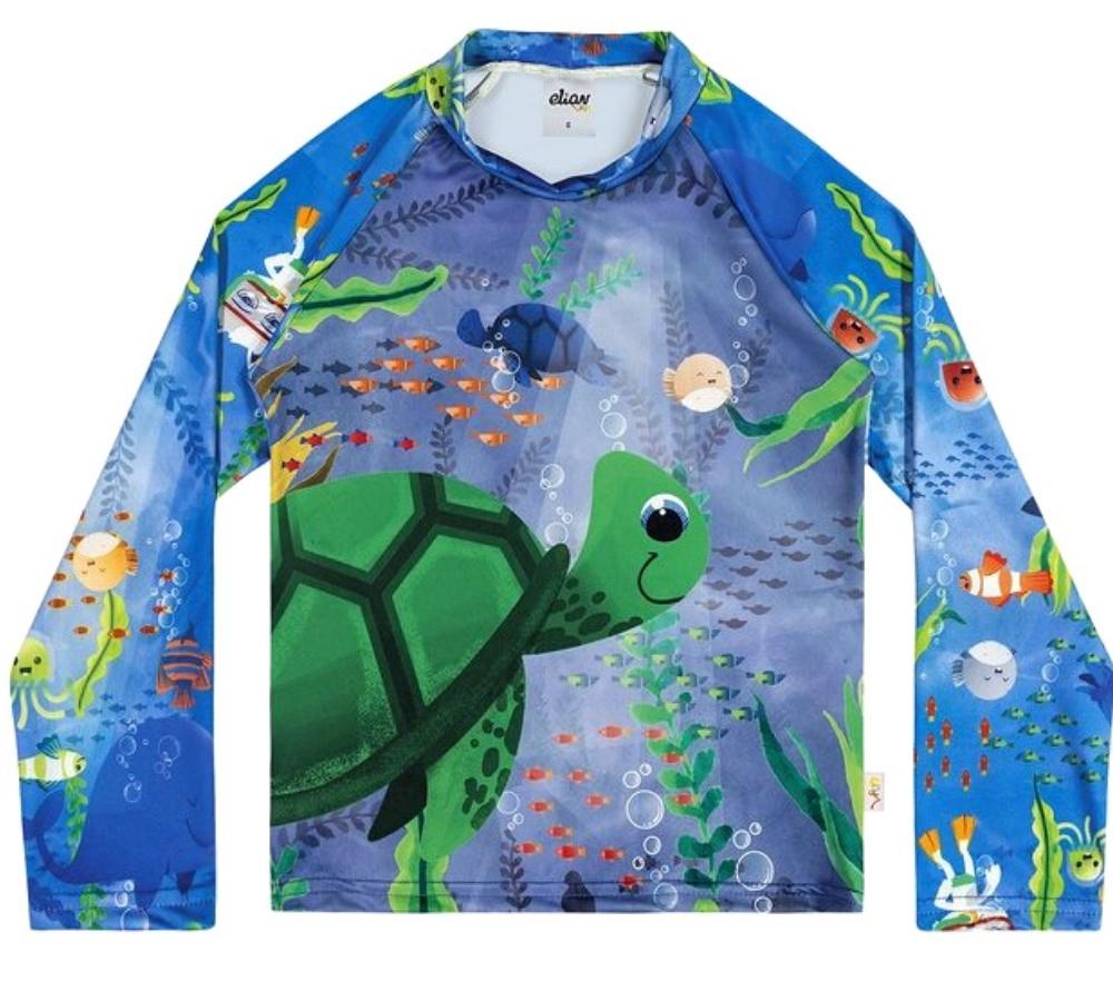 Camiseta Infantil Elian  Proteção UV 50 Azul