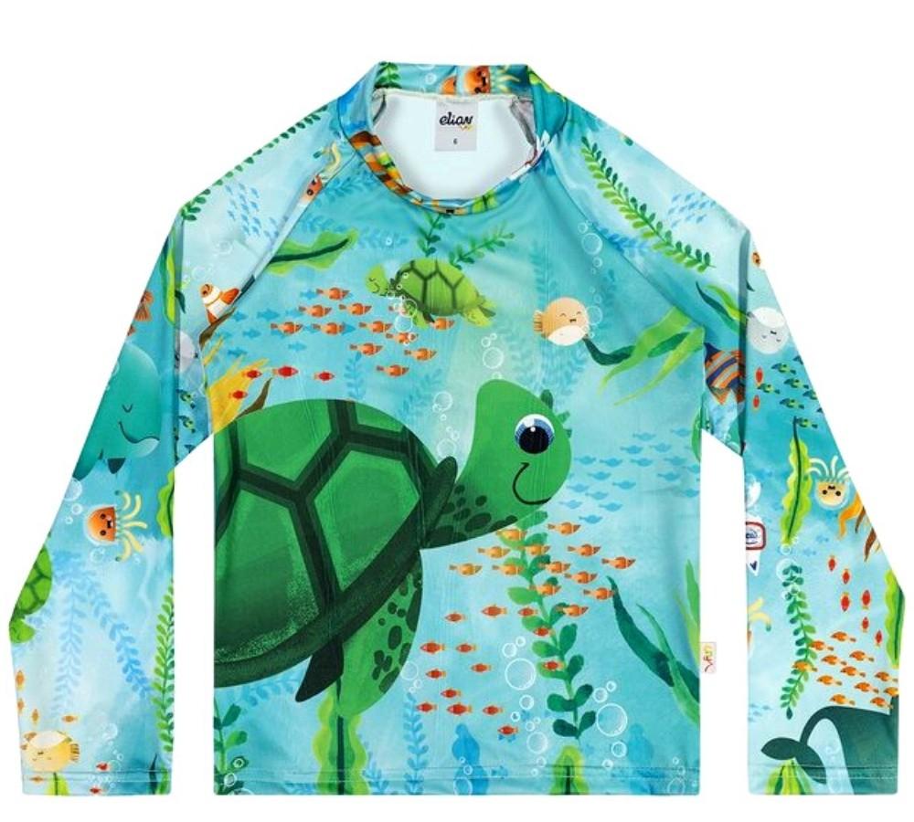 Camiseta Infantil Elian  Proteção UV 50 Verde