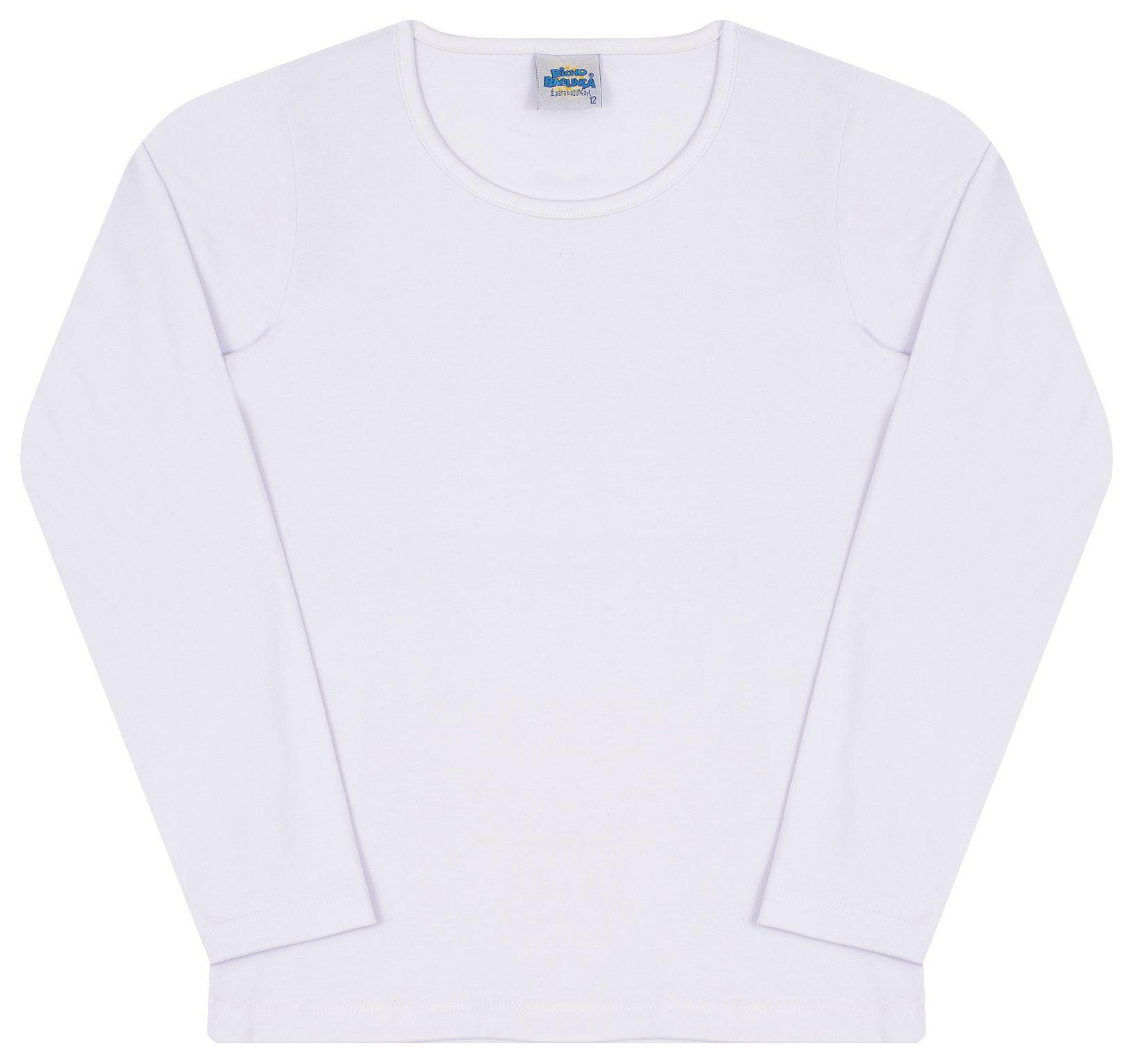 Camiseta Manga Longa Branca Menina Bicho Bagunça