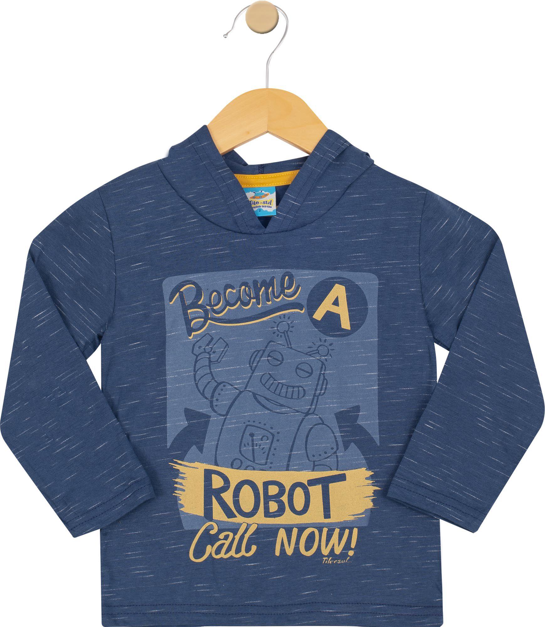 Camiseta Menino com Capuz Azul